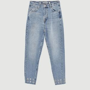 Zara mom jeans with metallic detail